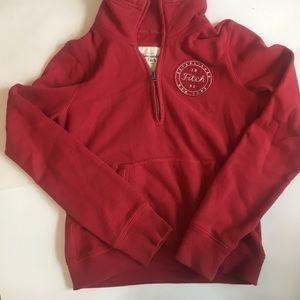Abercrombie & Fitch red Quarter Zip sweatshirt